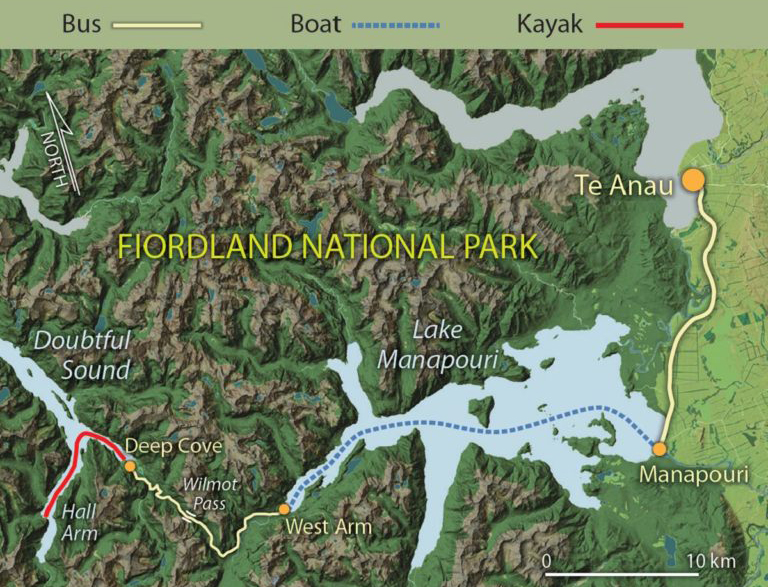 Map of Doubtful Sound Kayak tour route