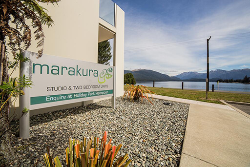 View towards lake from the Marakura Motel units, Te Anau