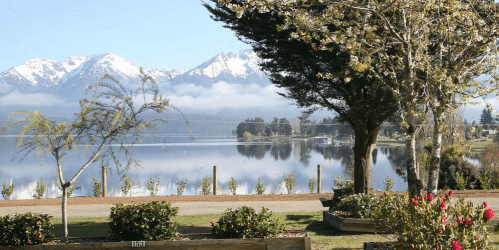 View of lake from Te Anau Lakeview Holiday Park